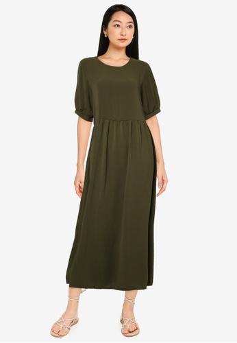 MISSGUIDED green Puff Sleeve Smock Dress 2145CAA365D514GS_1