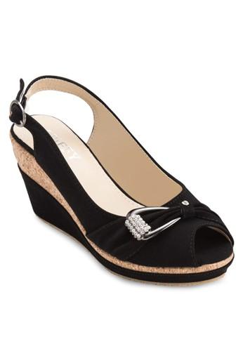 閃esprit服飾飾扣環魚口楔形鞋, 女鞋, 鞋
