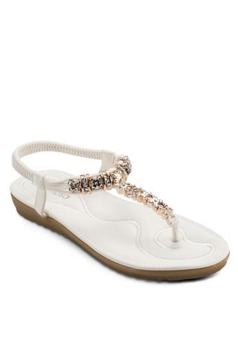 閃飾夾腳繞踝涼鞋,esprit outlet 台灣 女鞋, 鞋