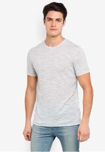 Topman grey Blue Linen Stripe T-Shirt TO413AA0T1NSMY_1