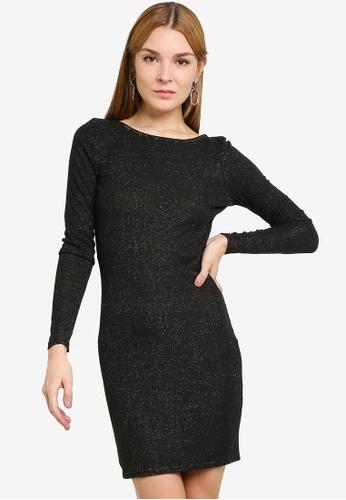JACQUELINE DE YONG black Tina Lurex Dress 24696AA1A8BB51GS_1