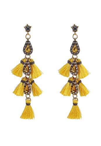 Red's Revenge yellow Cascading Gems & Tassel Statement Earrings 7848FAC6C2AAE0GS_1