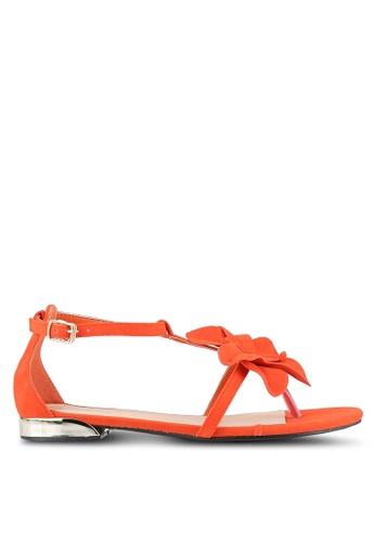 Something Borrowed orange Suede Flower Sandals 74830SH5C6BEFCGS_1