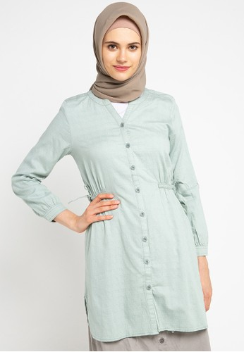 Exit green Ayyara Blouse Button With Waistrape C15D1AA24A960AGS_1