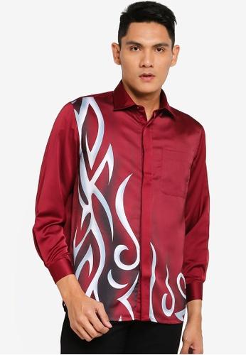 Gene Martino red Long Sleeve Batik 0DEB3AA2DF9BD3GS_1