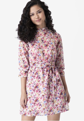 FabAlley multi Floral Belted High Neck Shift Dress 37614AAB881825GS_1