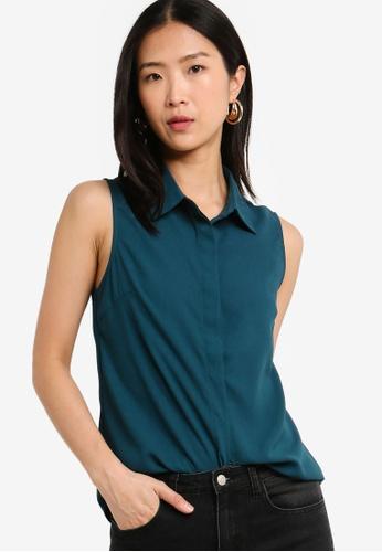 ZALORA BASICS blue Basic Sleeveless Shirt AF7CAAA5638582GS_1