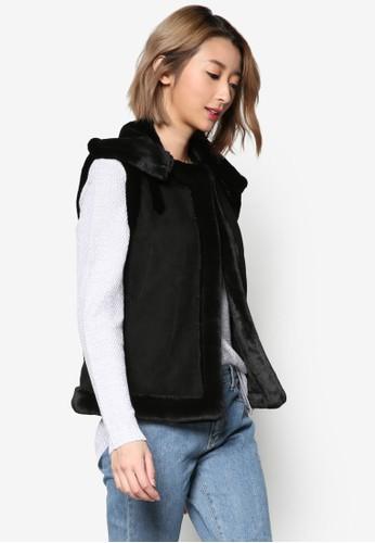 裝飾領仿麂皮無袖esprit tw外套, 服飾, 外套