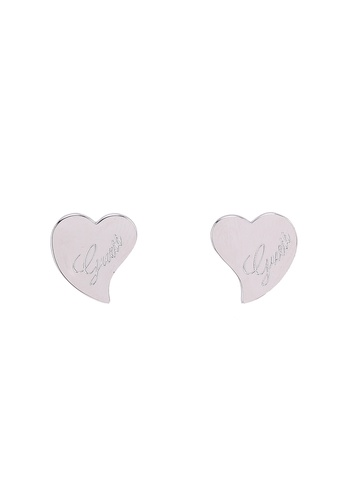 Guess silver Heart With Logo Stud Earrings 158D4ACAC675E5GS_1