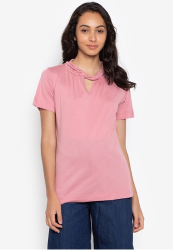 moondaze pink Poppy Twisted Neckline Top 4D483AAE0B3C94GS_1