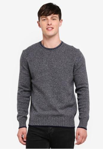 United Colors of Benetton 灰色 經典素色保暖圓領長袖毛衣 80E12AA2610DA2GS_1
