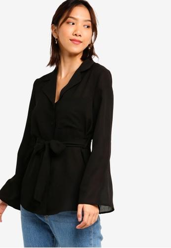 Something Borrowed 黑色 綁帶口袋襯衫 3269CAA3C9F44FGS_1