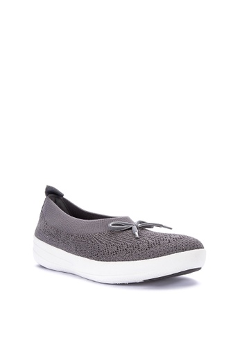 713b1e493d3 Fitflop grey Uberknit Ballerina With Bow - Metallic Weave C462FSHA650AF3GS 1
