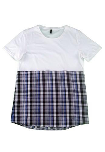 拼接格紋上衣, 服飾, 素色Tesprit hk分店恤