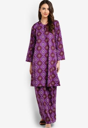 Butik Sireh Pinang purple Melor Pahang Kurung with Songket Print BU003AA79GGMMY_1