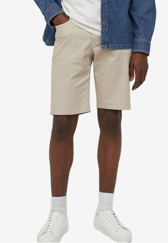 H&M beige Woven Shorts 44279AA844207EGS_1