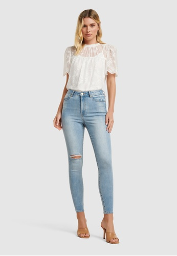 Forever New blue Zoe Mid Rise Ankle Grazer Jeans A9912AAEEA6853GS_1