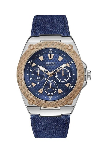 Guess Watch blue Guess Legacy Silver and Blue Denim and Leather Watch 74F04AC5D63971GS_1