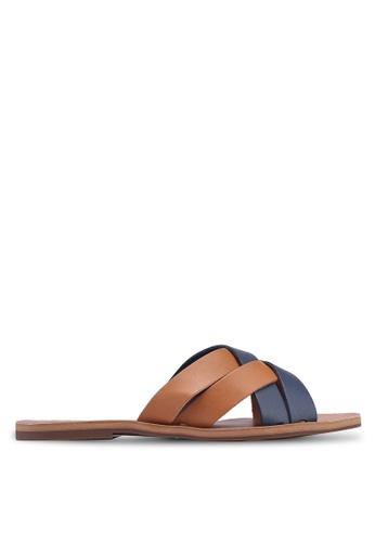 Anacapri 海軍藍色 雙色交叉繞帶涼鞋 22DEBSH04563BCGS_1