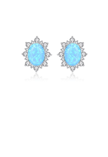 Glamorousky white 925 Sterling Silver Elegant Fashion Pattern Blue Imitation Opal Stud Earrings with Cubic Zirconia 6D38EAC094C625GS_1