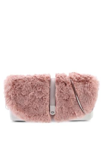 Hoola Hoola white Camilla Clutch - Eggshell White Pink Fur with Snake Chain 07B66AC2C9EC72GS_1