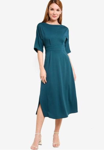 ZALORA WORK green Kimono Midi Dress With Slits 468F6AA34EE874GS_1