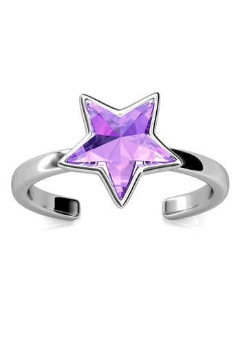 Her Jewellery purple and silver Star Ring (Purple) - Made with premium grade crystals from Austria 59EF3ACCD57C73GS_1