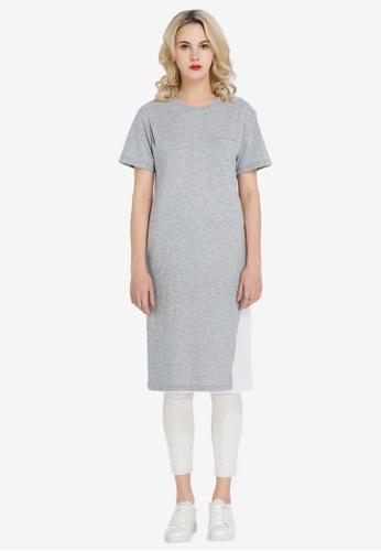 Hopeshow grey Long T-Shirt Dress C2EBFAA5BC8B81GS_1