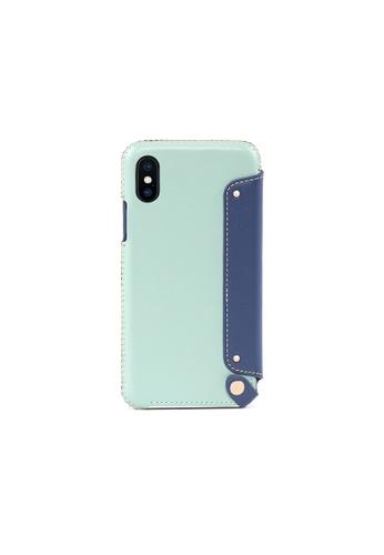 OBX blue Seafoam iPhone X/Xs Leather Folio Case A892EAC2E0334BGS_1