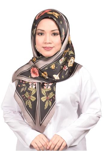 FATIMÉ 多色 緞布方形頭巾植物(黑色) EB3ECAA181CD25GS_1
