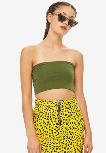 TOPSHOP green Petite Simple Boobtube Top 89EB6AA2034B72GS_1