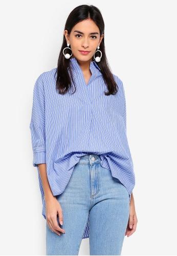 French Connection blue Bega Stripe Dip Hem Shirt ECA5BAAD27800EGS_1