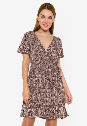 JACQUELINE DE YONG multi Staar Life Short Sleeve Wrap Dress 09BE5AAC823E42GS_1