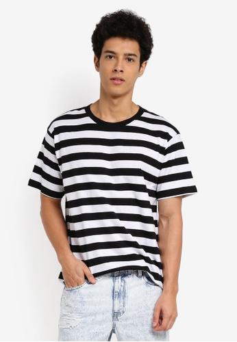 Cotton On 黑色 and 白色 短袖條紋長版T恤 C35BEAA6C85582GS_1