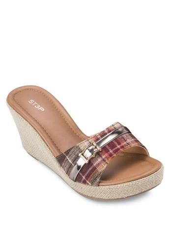 閃飾寬esprit 台北帶楔型涼鞋, 女鞋, 楔形涼鞋