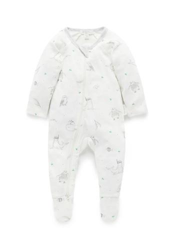 Purebaby grey and white Printed Zip Growsuit 20C42KADE24941GS_1