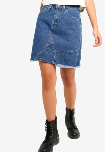 Something Borrowed blue Ripped Hem A-Line Denim Skirt CC16AAADACF671GS_1