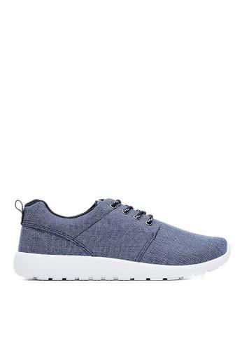 MIT。輕量。水洗刷紋牛仔布。簡約esprit服飾運動鞋-09441-藍色, 鞋, 休閒鞋