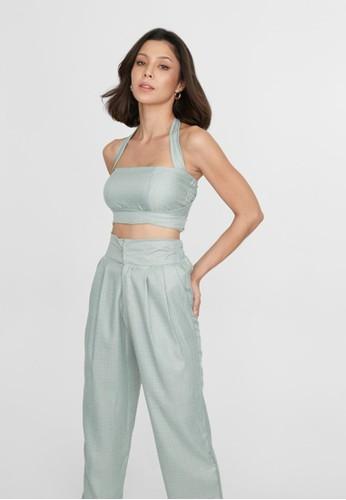 Boss Babe the Label green Renee Multiway Bustier Style Linen Crop Top in Light Sage 9F3EAAAFE6179CGS_1