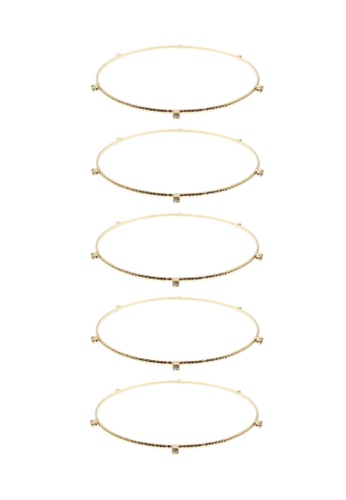 LUCCACAL gold 5 x Stack Attack Bangles LU294AC62XQFMY_1