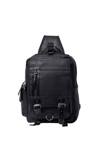 Lara black Men Buckle Flap Cross Body Bag - Black C045AAC36500D5GS_1