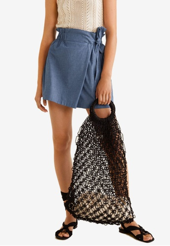 Mango blue Lace Cotton Shorts 0A132AAAFB22B1GS_1