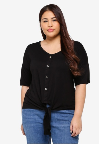 d823a05a4d Dorothy Perkins black Plus Size Black Button Down Knot Top  AEE5CAA771845AGS 1