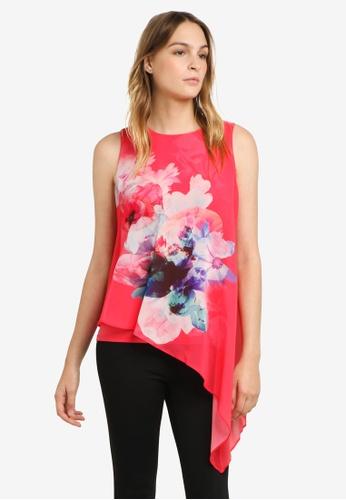 Wallis pink Floral Print Asymmetric Layered Top WA800AA0RSROMY_1