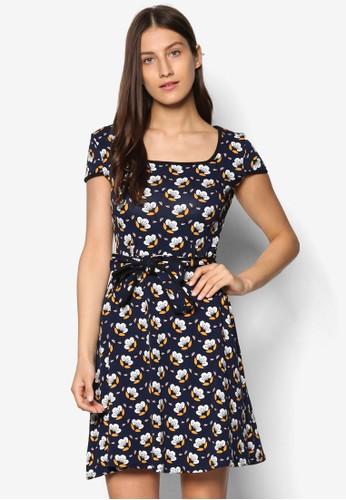 復古印花短袖洋裝, 服飾,esprit台灣 洋裝