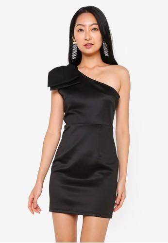 Public Desire black One Shoulder Bodycon Dress 84DCBAACF22899GS_1