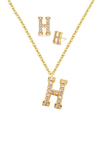 """Atrireal gold ÁTRIREAL - Initial """"H"""" Necklace + Earrings Jewellery Set in Gold B9A89ACC1FA9B9GS_1"""