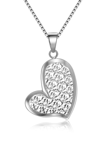 MaBelle silver 14K/585 White Color Gold Gold Heart Pendant With Silver chain A331CAC030D61FGS_1