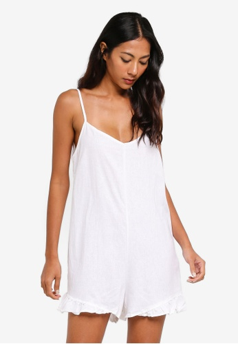 Cotton On white Woven Lily Strappy Frill Playsuit B105BAAF496FF4GS_1