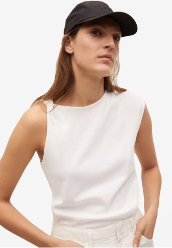 Mango white Wrap Detail Cotton T-Shirt E93BDAABBD8257GS_1